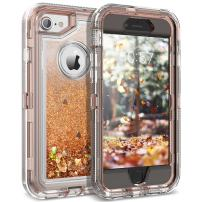 Dexnor iPhone 8 Case, iPhone 7 Case, Glitter 3D Bling Sparkle Flowing Liquid Case Transparent 3 in 1 Shockproof TPU Silicone + PC Protective Defender Cover for iPhone 8/7/6s/6 - Light Brown