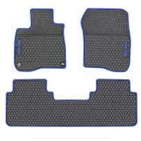 San Auto Car Rubber Floor Mat for Honda CR-V 5th Generation 2017 2018 2019 2020 Custom Fit Black and Navy Blue Auto Liner Mats All Weather Protection Heavy Duty Odorless