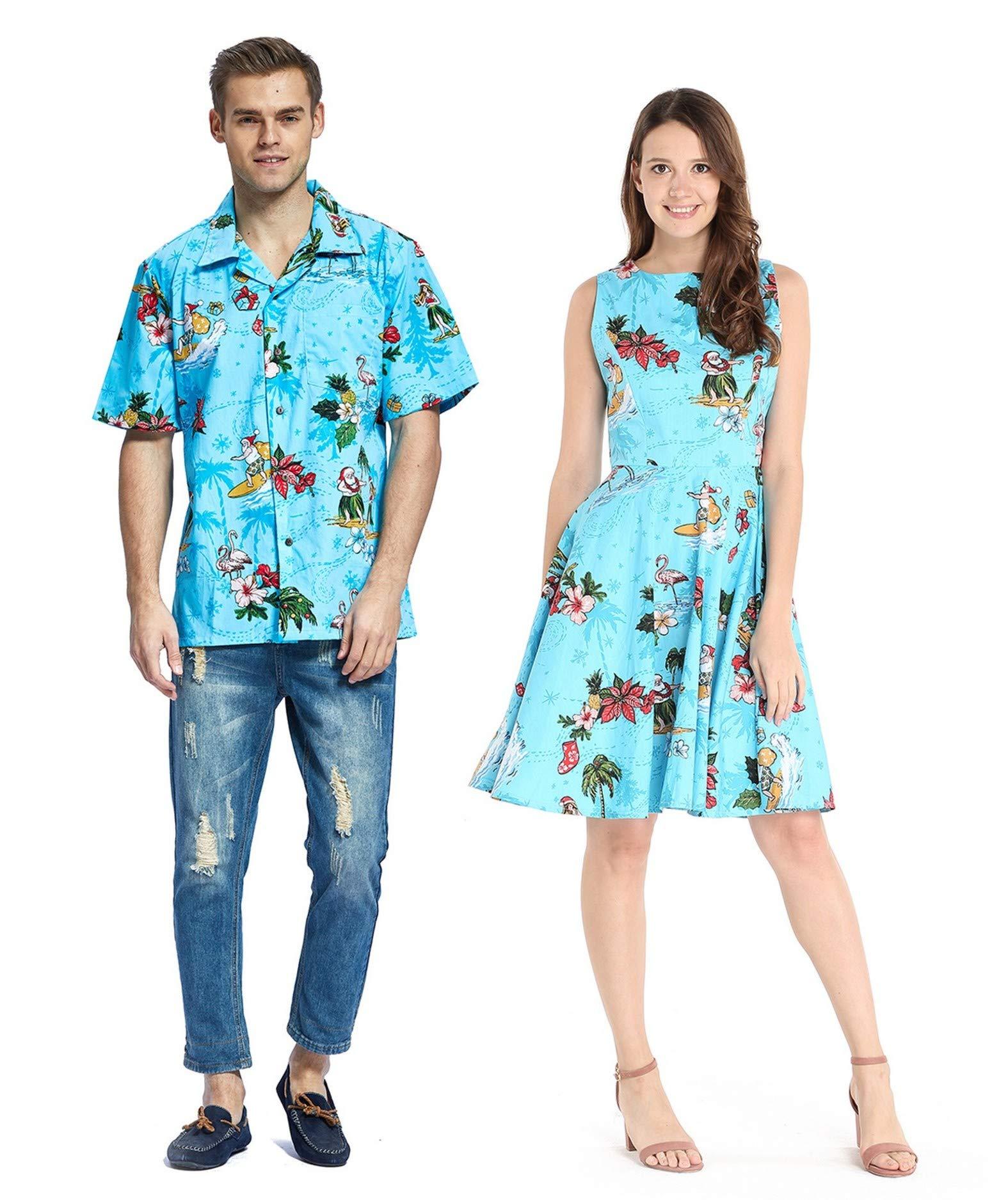Couple Matching Hawaiian Luau Cruise Outfit Shirt Vintage Dress Christmas Santa in Hawaii Red