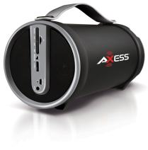 "AXESS SPBT1033 Portable Bluetooth Indoor/Outdoor 2.1 Hi-Fi Cylinder Loud Speaker with Built-In 4"" Sub and FM Radio, SD Card, USB, AUX Inputs in Gray"
