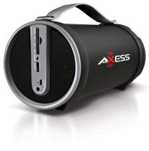"""AXESS SPBT1033 Portable Bluetooth Indoor/Outdoor 2.1 Hi-Fi Cylinder Loud Speaker with Built-In 4"""" Sub and FM Radio, SD Card, USB, AUX Inputs in Gray"""