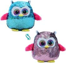 AIXINI Reversible Flip Sequin Owl Stuffed Animal Plush Toy, 16 Inch Cute Soft Pillow Doll with Magical Sparkle Red to Blue, Gift Kids Babies Birthday Party Home Decor