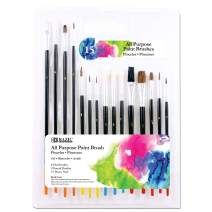 BAZIC All Purpose Paint Brush Set, Flat Round Tip, Acrylic Oil Watercolor Gouache Body Painting Skin Art Artist-Black (15/Pack)
