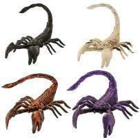 """Halloween Haunters Set of 4 Scary 12"""" Over-Sized Skeleton Scorpion Prop Decorations - 4 Colors White, Black, Bronze & Purple - Bendable Stinger Tails - Haunted House, Graveyard, Entryway Party Display"""