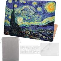 Sykiila for 2020 2019 New MacBook Air 13 Inch Case Model A2179 A1932,with Touch ID & Retina Display 4 in 1 Hard Cover & Keyboard Cover & HD Screen Protector & Sleeve - Starry Night