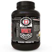 Driven WHEY- Grass Fed Whey Protein Powder: Delicious, Clean Protein Shake- Improve Muscle Recovery with 23 Grams of Protein with Added BCAA and Digestive Enzymes (Banana Pie, 5 lb)