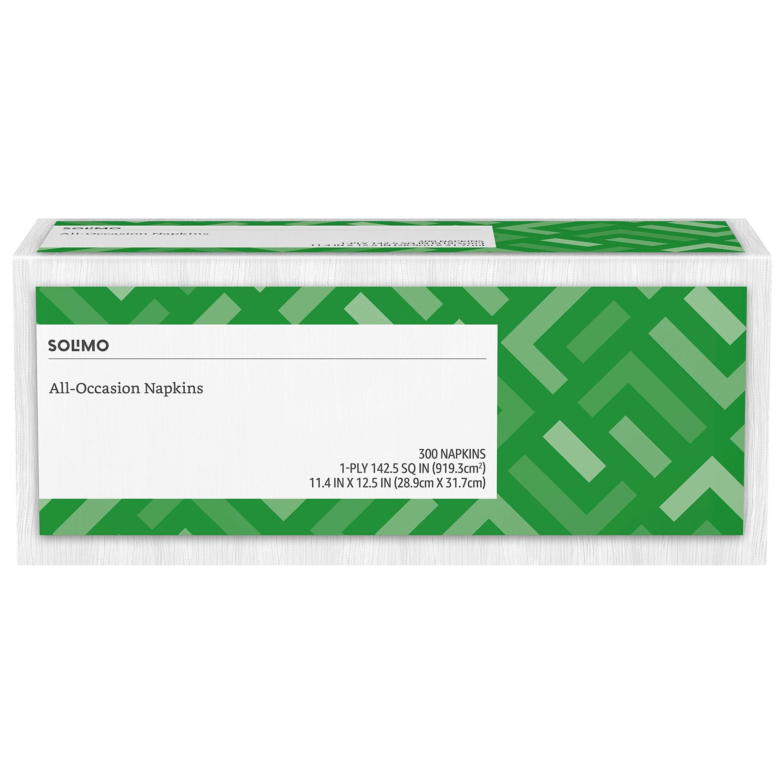 Amazon Brand - Solimo 1-ply Everyday Paper Napkins, White, 300 Napkins