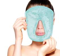 Hot and Cold Therapy Gel Bead Full Facial Mask by FOMI Care | Ice Face Mask for Migraine Headache, Stress Relief | Reduces Eye Puffiness, Dark Circles | Fabric Back (Full Face w/o Eye Holes)