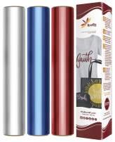 "Firefly Craft Elastic Foil Heat Transfer Vinyl Bundle | America Metallic HTV Vinyl Bundle | Iron On Vinyl for Cricut and Silhouette | Pack of 3 Best Selling Colors - 12"" x 20"" Each"