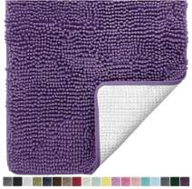 Gorilla Grip Original Luxury Chenille Bathroom Rug Mat, 48x24, Extra Soft and Absorbent Shaggy Rugs, Machine Wash and Dry, Perfect Plush Carpet Mats for Tub, Shower, and Bath Room, Violet