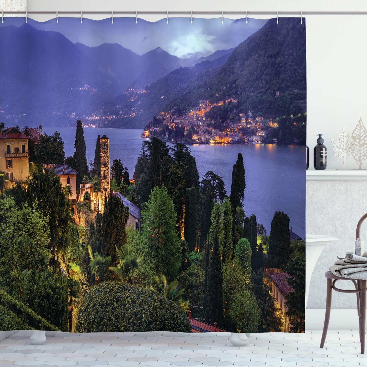 """Ambesonne Italian Shower Curtain, Lago Di Camo Lake Famous Coastal Village with Aerial View Picturesque Panorama, Cloth Fabric Bathroom Decor Set with Hooks, 70"""" Long, Green Mauve"""