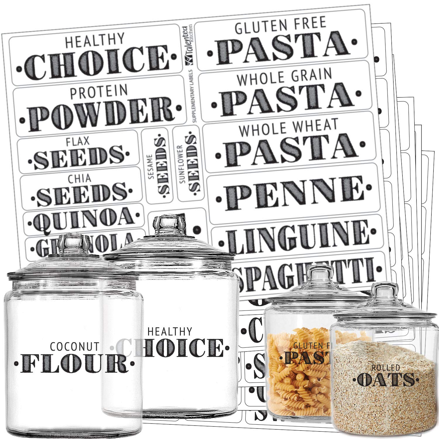 Talented Kitchen Farmhouse Pantry Labels – 110 Healthy Ingredients – Food Pantry Label Sticker. Water Resistant, Food Jar Labels. Jar Decals Pantry Organization Storage (Set of 110 – Non Main Pantry)