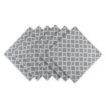 """DII Lattice Cotton Napkin for Brunch, Weddings, Showers, Parties and Everyday Use - 20x 20"""", Gray and White, Set of 6"""