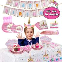 Premium Unicorn Birthday Party Supplies - Serve 16, FDA Approved, Including Plates, Cups, Utensils, Napkins, Table Cover, Banner