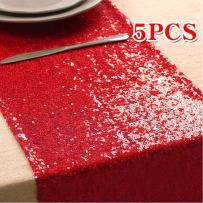 """108 inches/118 inches Sequin Gold Silver Wedding Table Runners Red Sparkly Table Runner Shinny Glitter for Banquet Party 3 Size/5 Colors Pack of 1 5 10 (12""""x118""""/Red, 5)"""