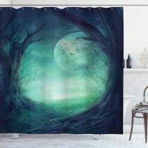 "Ambesonne Gothic Shower Curtain, Misty Horror Image of Autumn Valley with Woods Spooky Tree and Full Moon Scenery, Cloth Fabric Bathroom Decor Set with Hooks, 70"" Long, Navy Green"