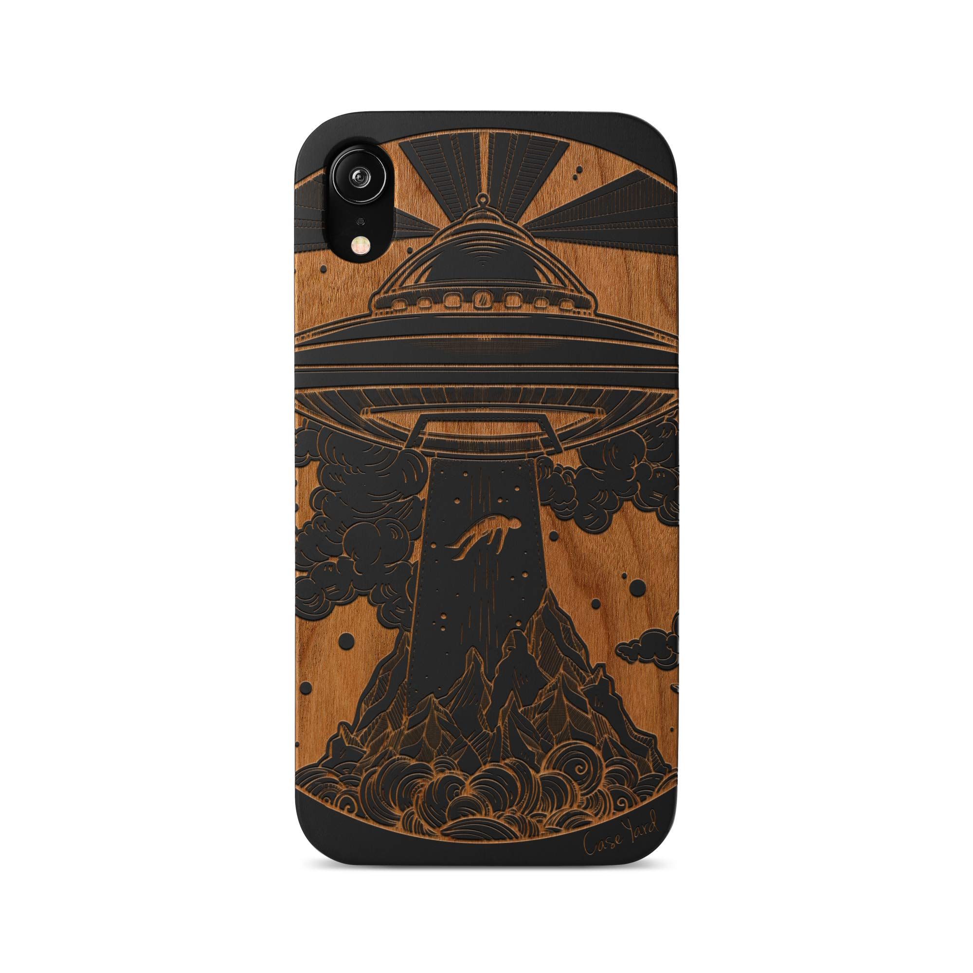 iPhone 11 Case by Case Yard Fit for iPhone 11 6.1-Inch [ 2019 Release ] Shock-Absorption iPhone 11 Phone Cover Wood Black iPhone 11 Cases Alien Spaceship