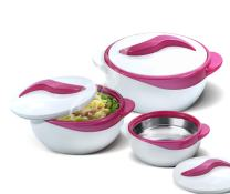 Pinnacle Serving Salad/ Soup Dish Bowl - Thermal Inulated Bowl with Lid - Great Bowl for Holiday, Dinner and Party ~ Set of 3 ~ Purple