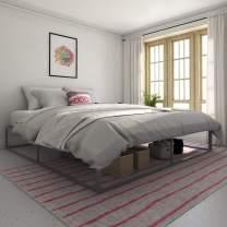 Novogratz Metal Platform Bed with Storage, Gray, King