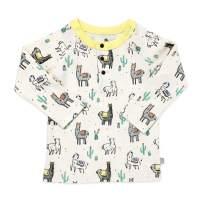 Finn + Emma Organic Cotton Baby Long Sleeve Henley Shirt - Llamas - 4T / 5T