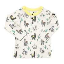 Finn + Emma Organic Cotton Baby Long Sleeve Henley Shirt - Llamas - 9-12 Months