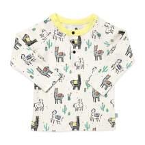 Finn + Emma Organic Cotton Baby Long Sleeve Henley Shirt - Llamas - 0-3 Months
