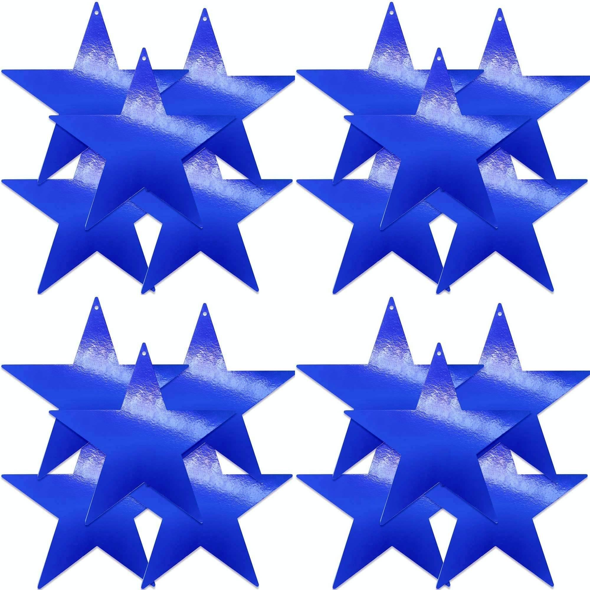 UNIQOOO 20Pcs Metallic Blue Foil Star Cutouts Bulk Accents, Thick Paper Cardboard Pre-Punched Hole, For Kids Birthday Party Favors Banner Garland BackDrop Decor, Classroom Bulletin Board Craft, 9 Inch