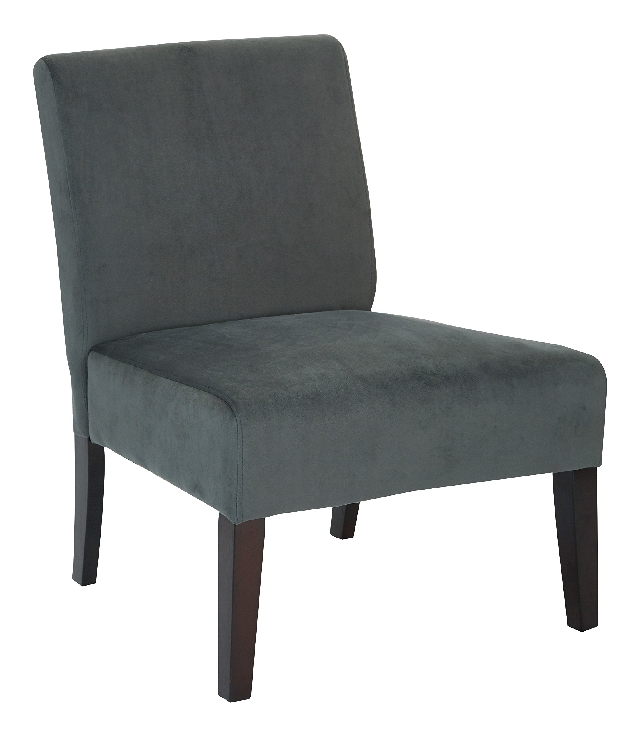 AVE SIX Laguna Accent Chair with Espresso Finish Solid Wood Legs, Graphite Velvet Fabric