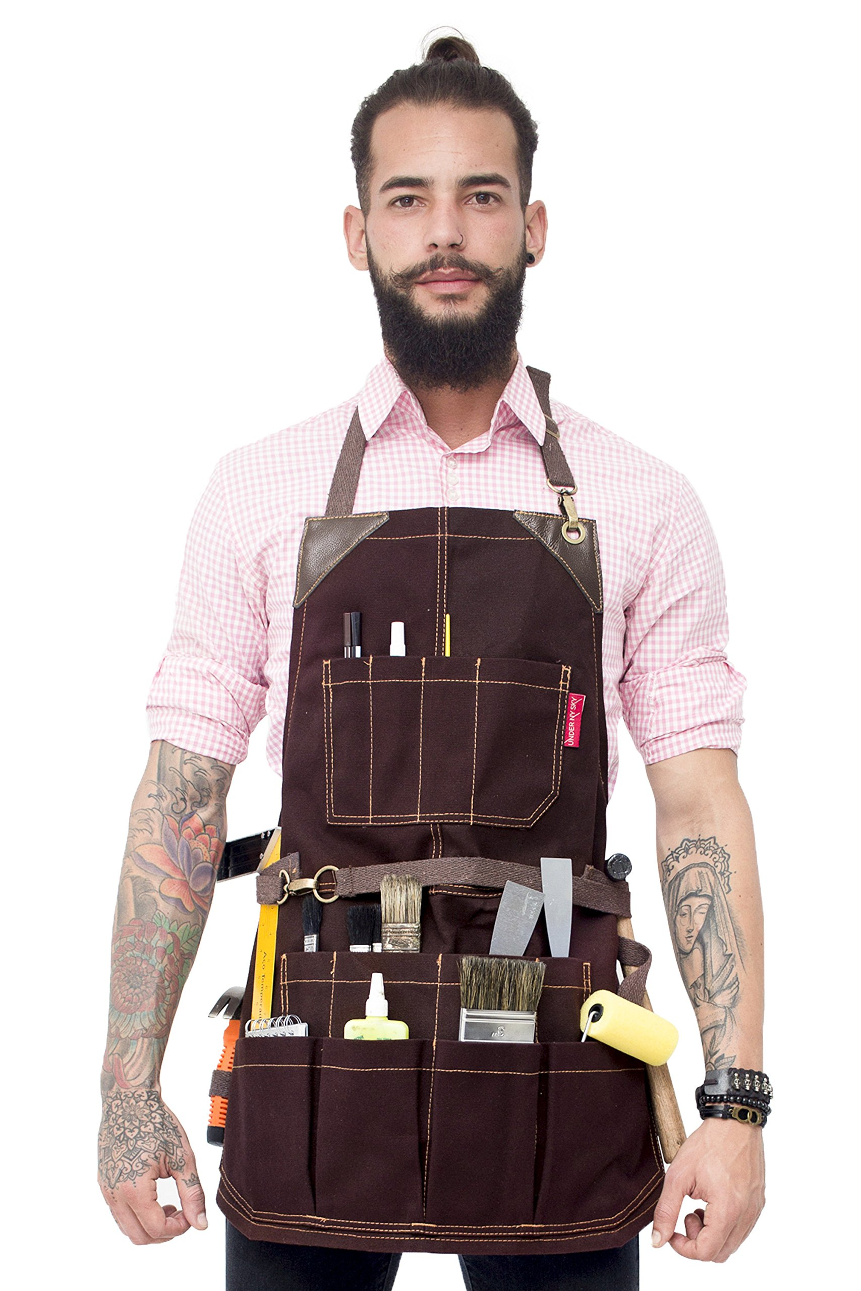 Under NY Sky Tool Brown Apron – Heavy-Duty Waxed Canvas, Leather Reinforcement, Extra Pockets – Adjustable for Men, Women – Pro Mechanic, Woodworker, Blacksmith, Plumber, Electrician, Welder Aprons