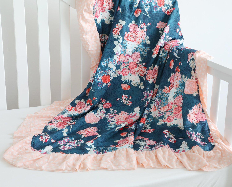 Sahaler Floral Minky Blanket Baby Girl Dot Ruffle Blankets Infants Toddlers Girl's Soft Throw Comfortable, (Navy Floral)