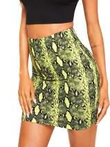 MakeMeChic Women's Snakeskin Print Sexy Bodycon Mini Pencil Skirt