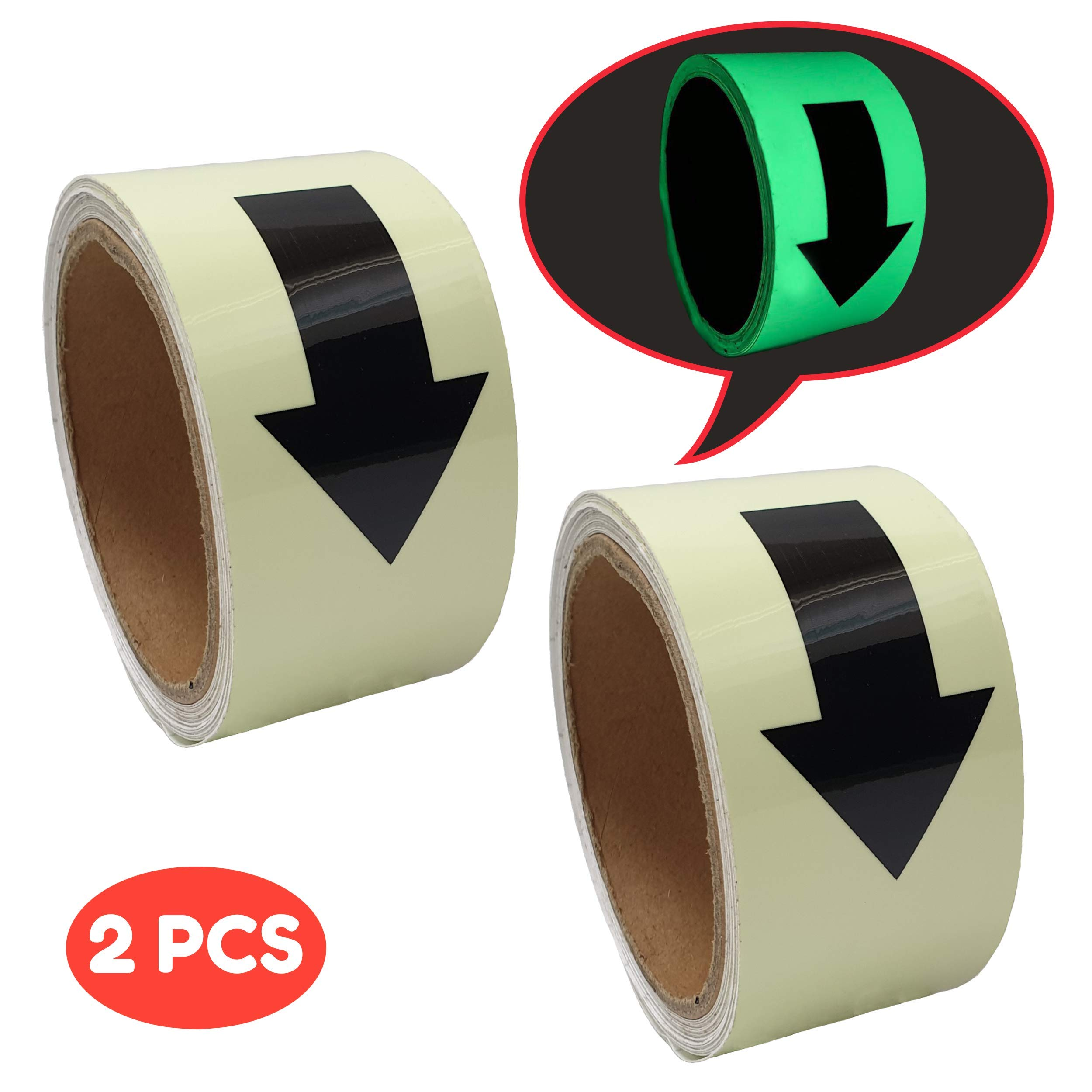 Macro Giant Luminous Directional Marking Tape, Arrow Mark, Set of 2, 1.96 inches wide, 16.4 feet Long, Adhesive, Glow In The Dark, Warning Emergency Tape