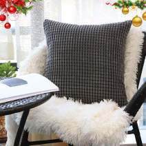 """Decorative Throw Pillow Covers 18"""" x 18"""" (No Insert),Solid Cozy Corduroy Corn Accent Square Pillow Case Sham,Soft Velvet Cushion Covers with Hidden Zipper for Couch/Sofa/Bedroom,Dark Gray"""