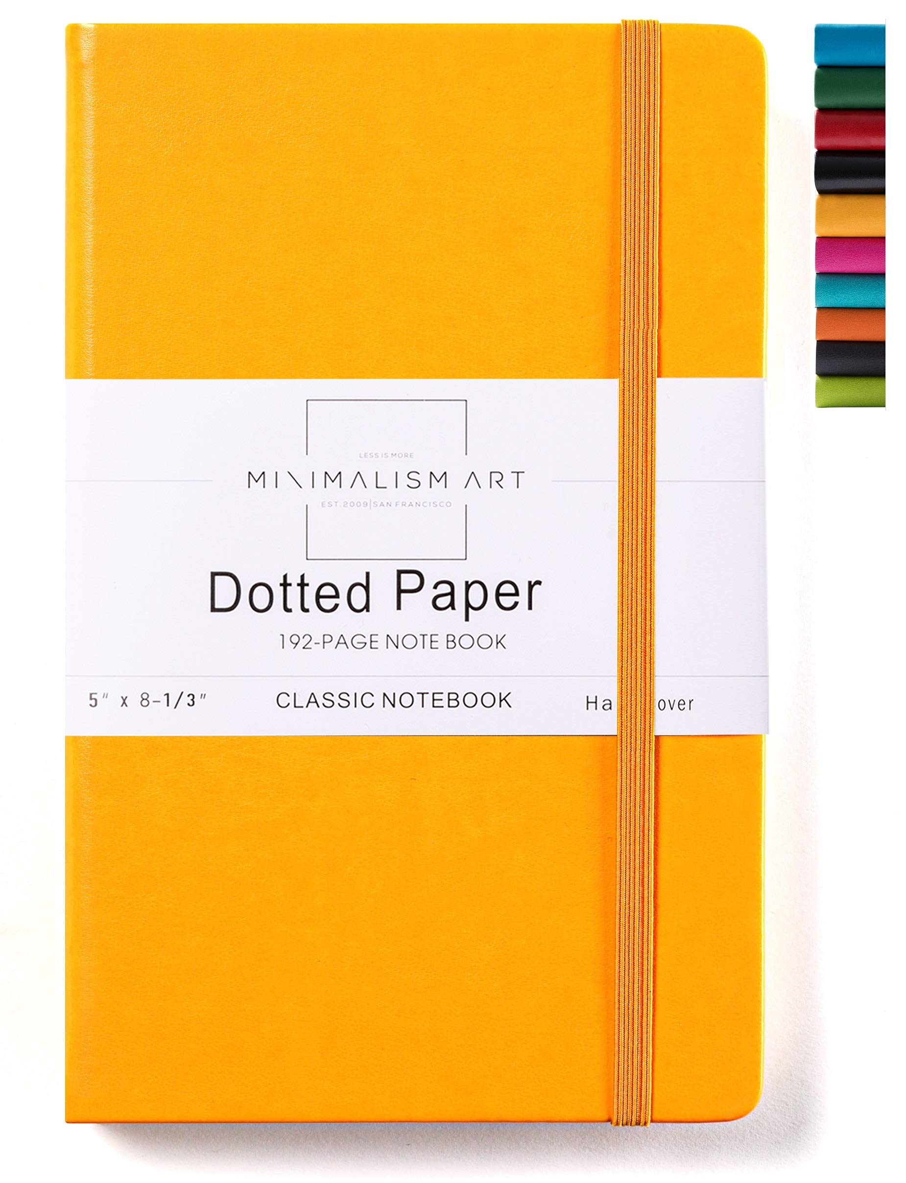 Minimalism Art, Classic Notebook Journal, A5 Size 5 X 8.3 inches, Yellow, Dotted Grid Page, 192 Pages, Hard Cover, Fine PU Leather, Inner Pocket, Quality Paper-100gsm, Designed in San Francisco