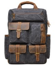 ALTOSY Canvas Backpack Vintage Leather Laptop Bags Men Women Travel Rucksack (5351 Canvas Gray)