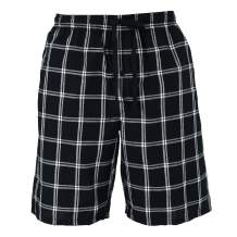Hanes Men's Cotton Madras Drawstring Sleep Pajama Shorts, Large, Black Plaid