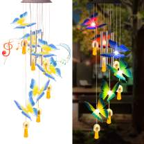 """Amasava Solar Wind Chimes for Outside Solar Butterfly Wind Chimes Changing Color with 3 Aluminum Alloy Tubes 31.5"""" Butterfly Light Outdoor Garden Decoration Gifts for Moms Grandma Women"""