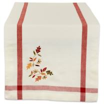 DII 100% Cotton Table Runner Fall Leaves with Corner Border, 14x108