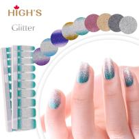 HIGH'S EXTRE ADHESION 20pcs Nail Art Transfer Decals Sticker Glitter Series The Cocktail Collection Manicure DIY Nail Polish Strips Wraps for Wedding,Party,Shopping,Travelling (Mint Tea)