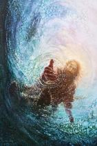"Havenlight Yongsung Kim - The Hand of God Painting - Jesus Reaching Into Water - 11"" x 14"" Print from"