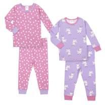 GERBER Baby Girls Organic 2 Pack 2-Piece Cotton Pjs