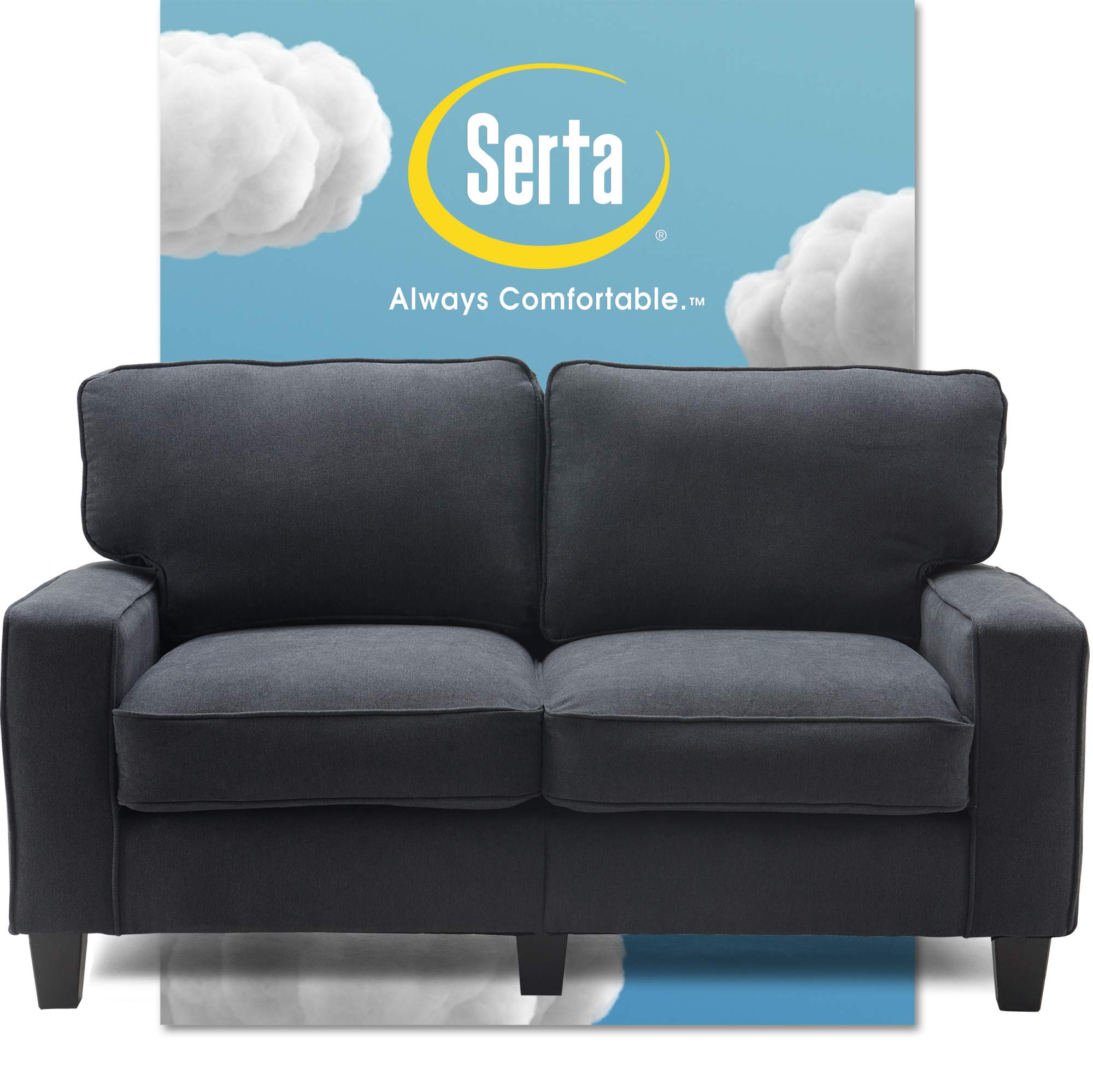 """Serta Palisades Upholstered Sofas for Living Room Modern Design Couch, Straight Arms, Soft Fabric Upholstery, Tool-Free Assembly, 61"""" Loveseat, Charcoal"""