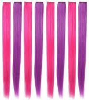 20'' 8PCS Pink Purple Hair Pieces for Girls Princess Party Highlight Colored Hair Extensions Clip in/On for Girls and Kids Wig Pieces for Dolls
