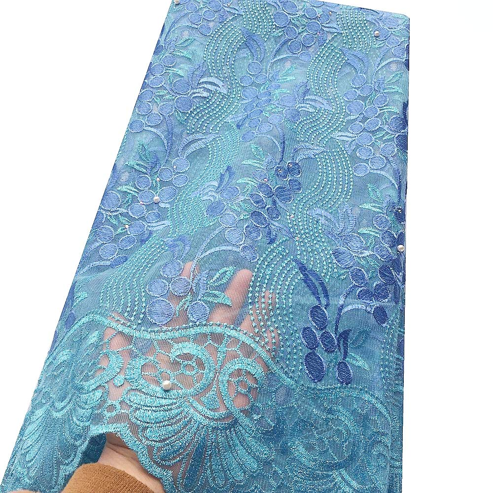 WorthSJLH Teal Green French Lace Fabric Tulle African Lace Fabric 2019 Latest Net Lace Material for Bride Dress (Powder Blue)