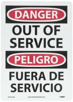 """NMC ESD365AB Bilingual OSHA Sign, Legend """"DANGER - OUT OF SERVICE"""", 10"""" Length x 14"""" Height, 0.040 Aluminum, Black/Red on White"""