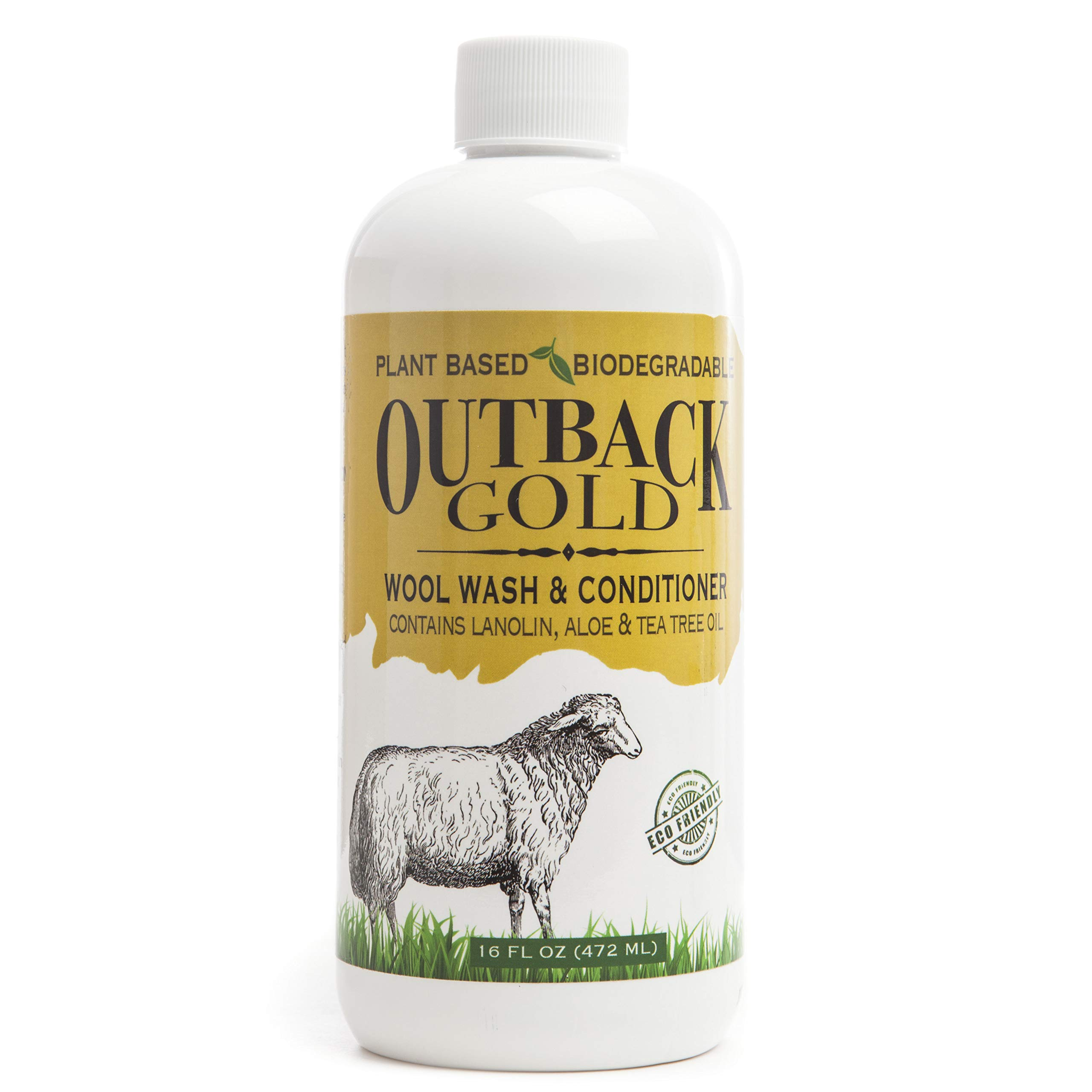 Outback Gold Wool Wash, 16 Ounce, Natural Plant Based Mild Liquid Soap, Cleans and Conditions Sheepskin, Wool and More, with Lanolin, Tea Tree Oil, Aloe, Coconut Oil, Scented with Pure Essential Oils