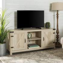 """Walker Edison Furniture Company Farmhouse Barn Wood Universal Stand for TV's up to 64"""" Flat Screen Living Room Storage Cabinet Doors and Shelves Entertainment Center, 58 Inch, White Oak"""