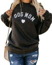 Heymiss Womens Tops Cat Dog Mom Shirts Long Sleeve Crewneck Graphic Tees