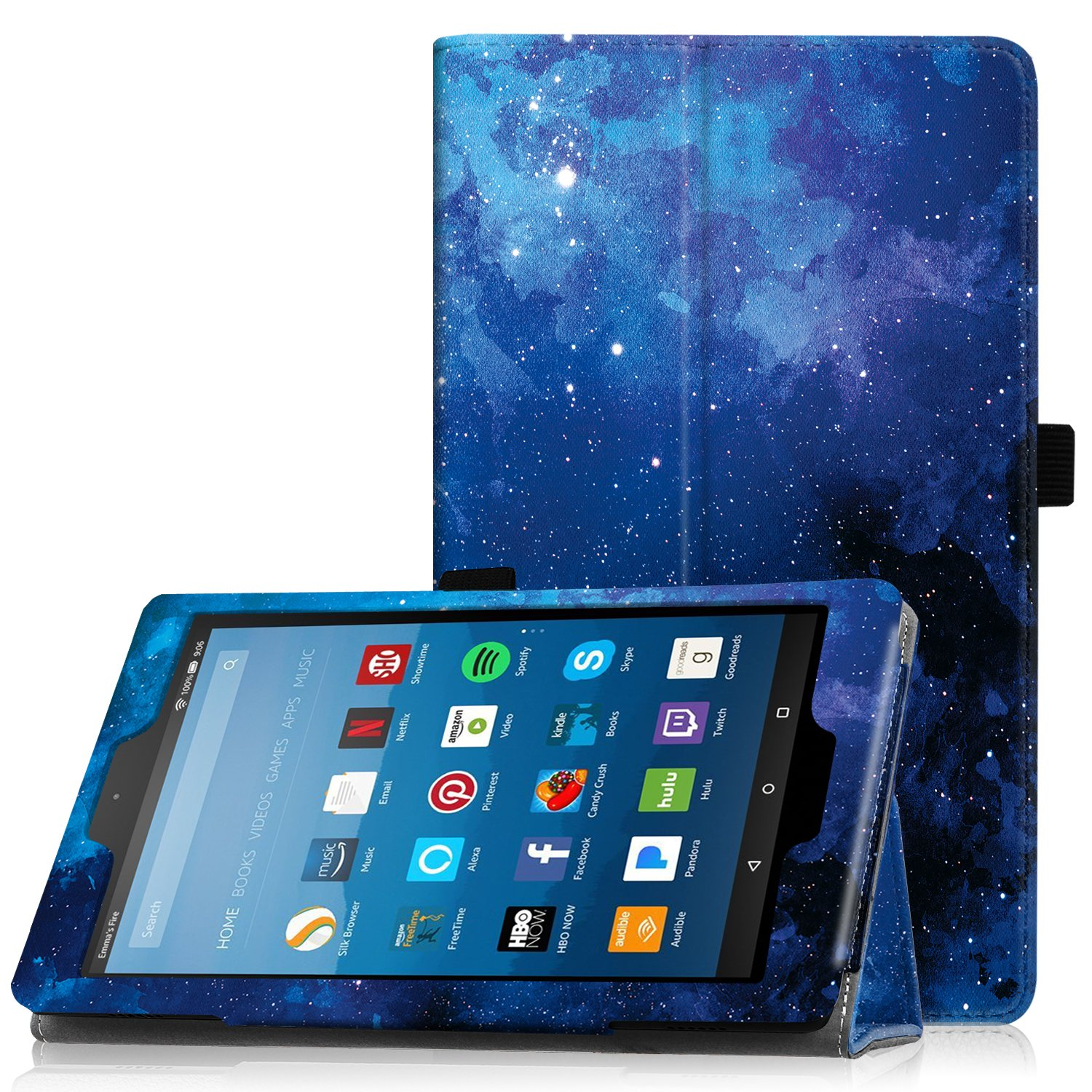 "Famavala Folio Case Cover Compatible with 8"" Fire HD 8 Tablet [8th Generation 2018 / 7th Generation 2017 ] (BlueSky)"