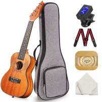 Concert Ukulele Manao 23 Inch Wings Electric Guitar Headstock Ukelele Beginners Kit Professional Ukele Instrument Pack Bundle with Gig Bag Tuner Strap Aquila Strings Set